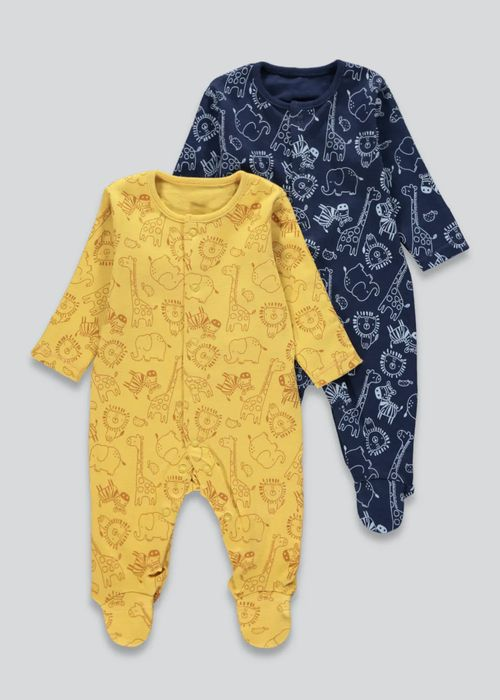 Unisex 2 Pack Animal Baby Grows