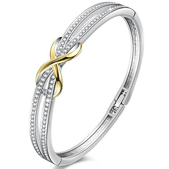 """DEAL STACK - Angelady""""Forever and Ever"""" Silver Infinity Ladies Bracelets Bangles"""