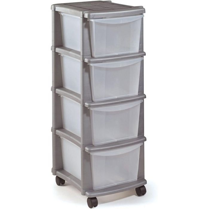 Argos Home 4 Drawer Plastic Tower Storage Unit - Silver