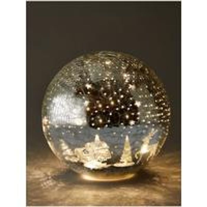 Festive 20cm Battery Operated Lit Crackle Effect Reindeer Ball Christmas Decorat
