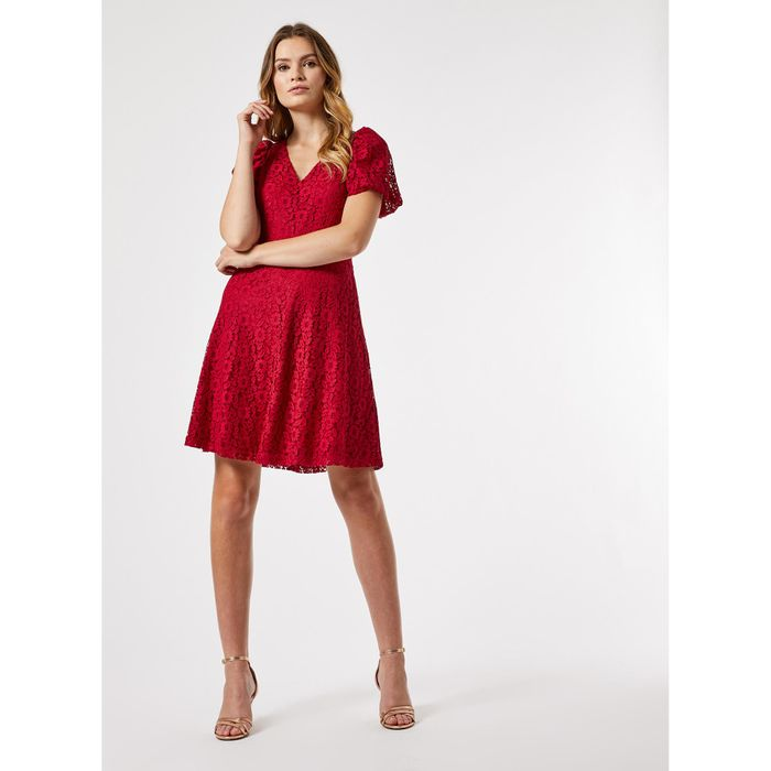 Dorothy Perkins - Red Lace Bubble Sleeves Dress