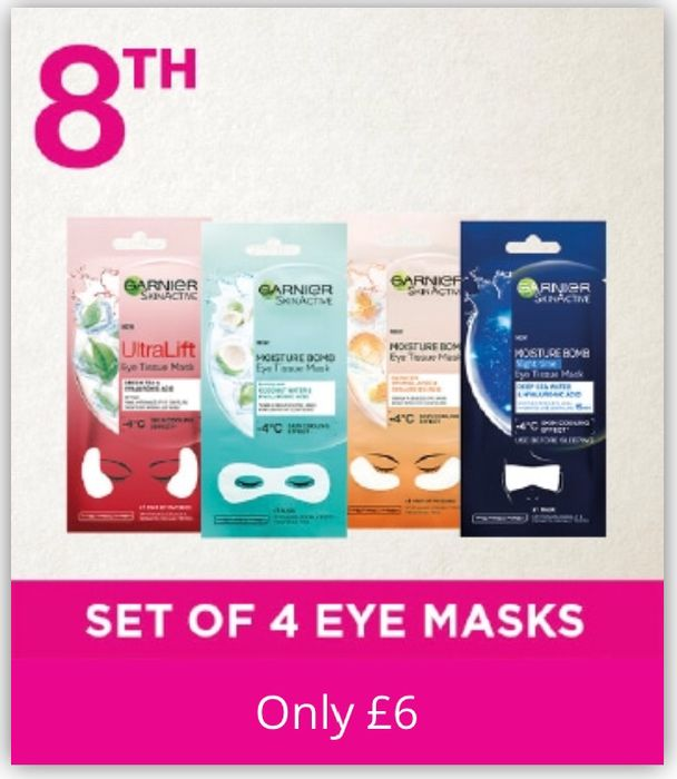 Today Offer: Garnier Moisture Bomb Eye Sheet Mask Set Bundle of 4