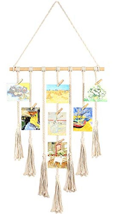 Macrame Hanging Photo Display with 25 Wood Clips