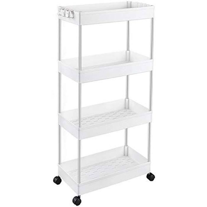 SPACEKEEPER Storage Trolley 4-Tier Slide out Storage Cart - Only £13.49!