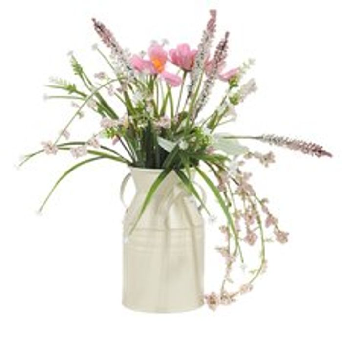 Artificial Wild Flowers In A Churn