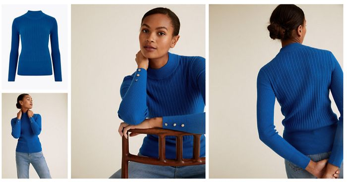 Soft Touch Ribbed Funnel Neck Fitted Jumper