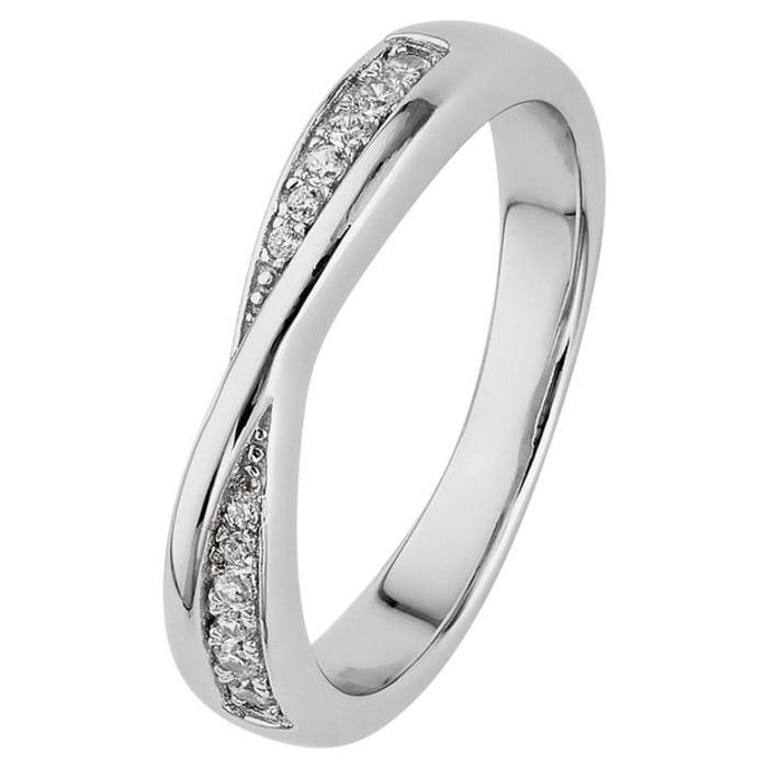 Revere Sterling Silver Crossover Half Eternity Ring