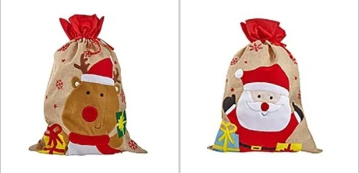 Large Jute Present Sack / Stocking - Rudolph or Santa