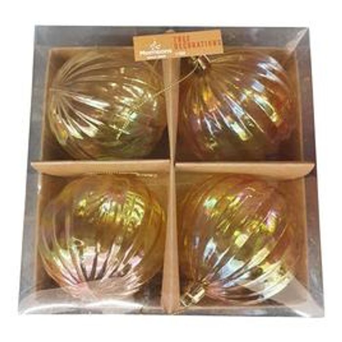 Morrisons Clear / Gold Iridescent Baubles 4 Pack