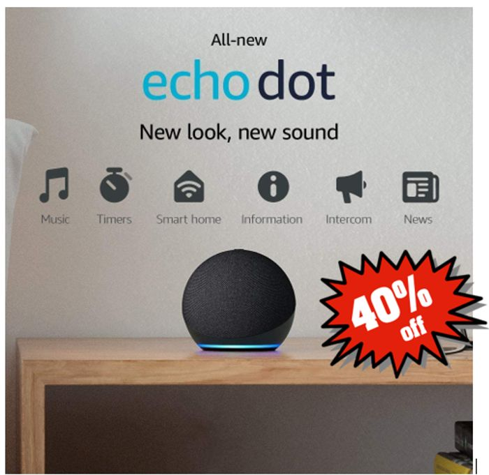 40% OFF - All New Echo Dot 4th Gen Smart Speaker With Alexa - £29.99 Delivered