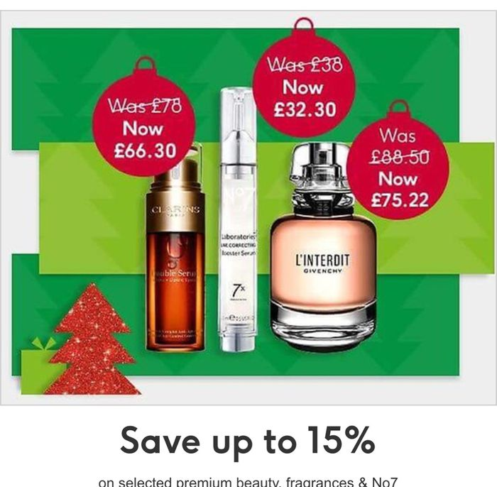 Save up to 15% on Selected Premium Beauty, Fragrances & No7