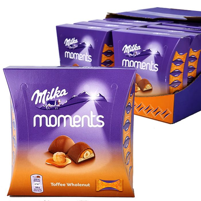16 X Official Milka Moments Toffee Wholenut Chocolate 97g Gift Boxes