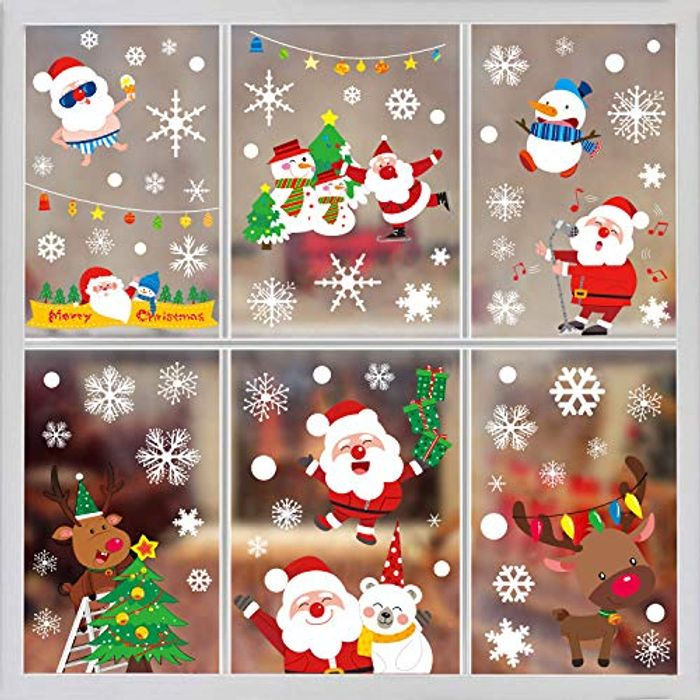 Christmas Window Cling Stickers, 8 Sheets Santa Claus Window Decals