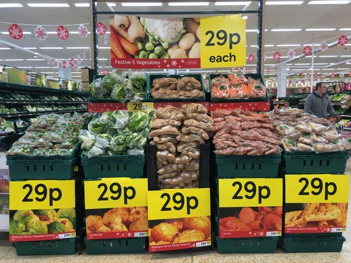 Tesco 29p Festive Five Veg - Potatoes, Carrots, Sprouts, Cauliflower & Parsnips