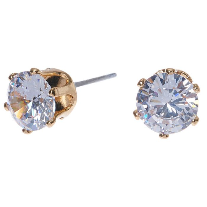 Gold Cubic Zirconia round Stud Earrings - 7MM