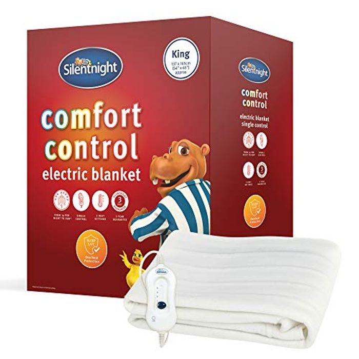 Silentnight Comfort Control Electric Blanket, White, King - Only £22!