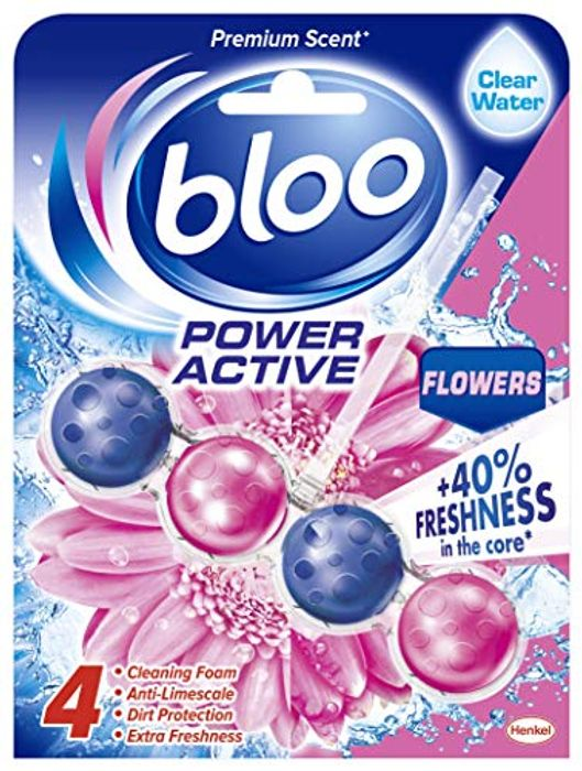 Bloo Power Active Toilet Rim Block Fresh Flowers with Anti-Limescale - £1