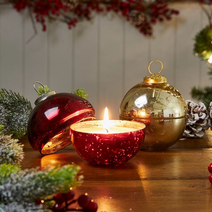 Bauble Ornament Candle - Available in Red & Gold