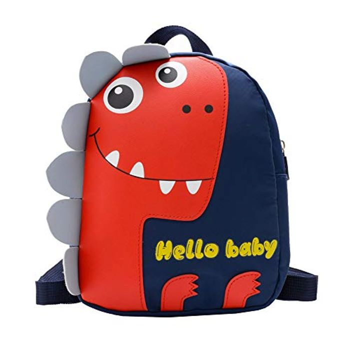 Kids Cute Dinosaur Shoulder Backpack Hit Color Baby Nylon Schoolbag