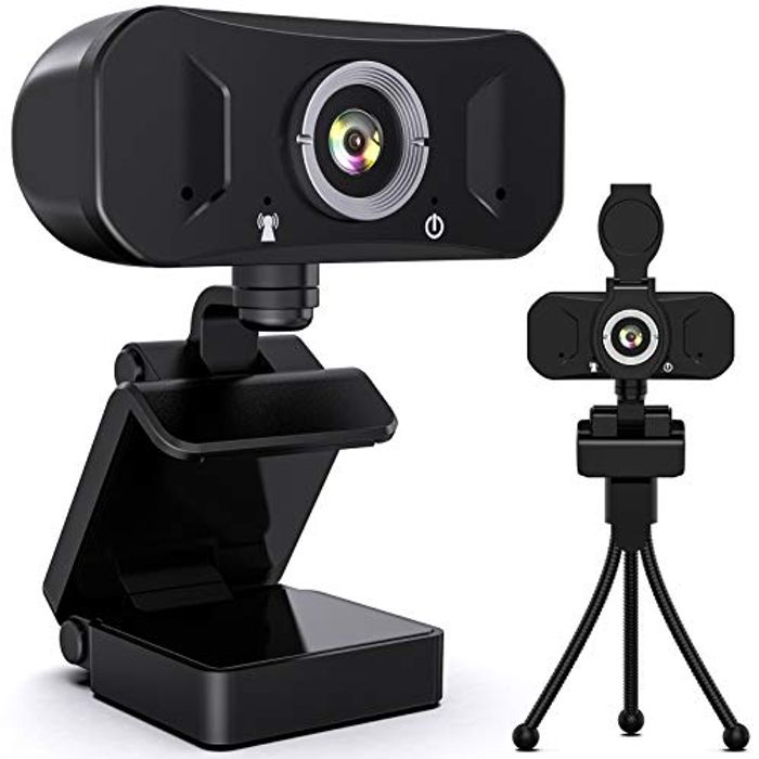 1080P Webcam with Microphone and Privacy Cover