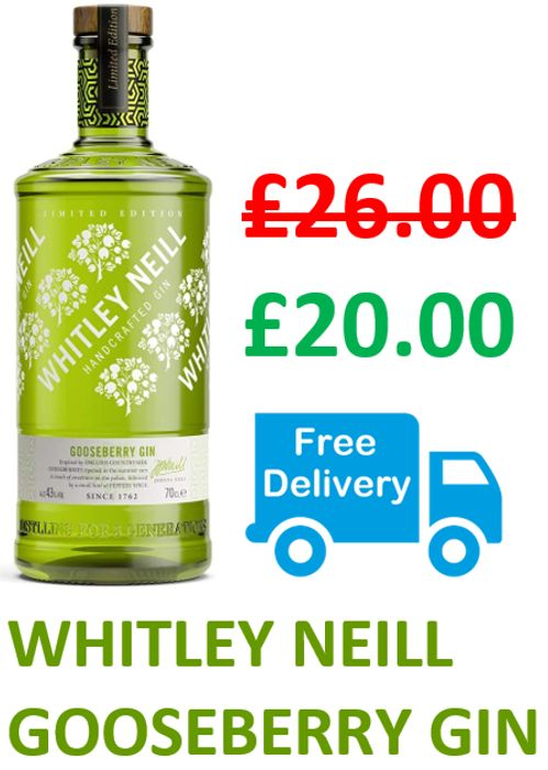 £6 OFF & FREE DELIVERY - Whitley Neill Gooseberry Gin, 70cl