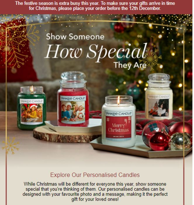 Personalised Candles for £20 at Yankee Candle