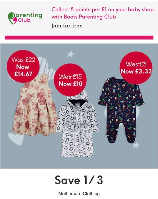 Save 1/3 on Selected Mothercare Clothing - Online Only, Price Start £2