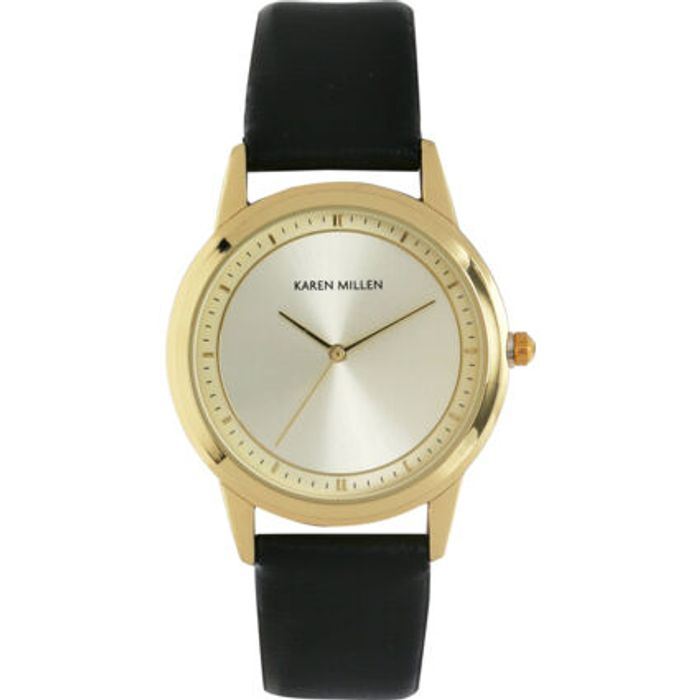 KAREN MILLEN Black & Gold Tone Analogue Watch