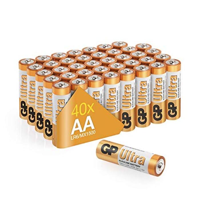 Lightning Deal! Pack of 40 GP Batteries AA 1.5V