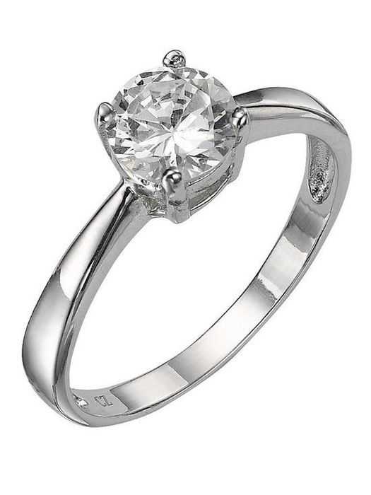 The Love Silver Collection S/Silver White Cubic Zirconia Solitaire Dress Ring