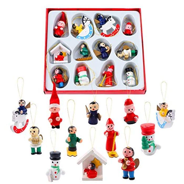 12 Pcs Mini Wooden Christmas Tree Ornaments