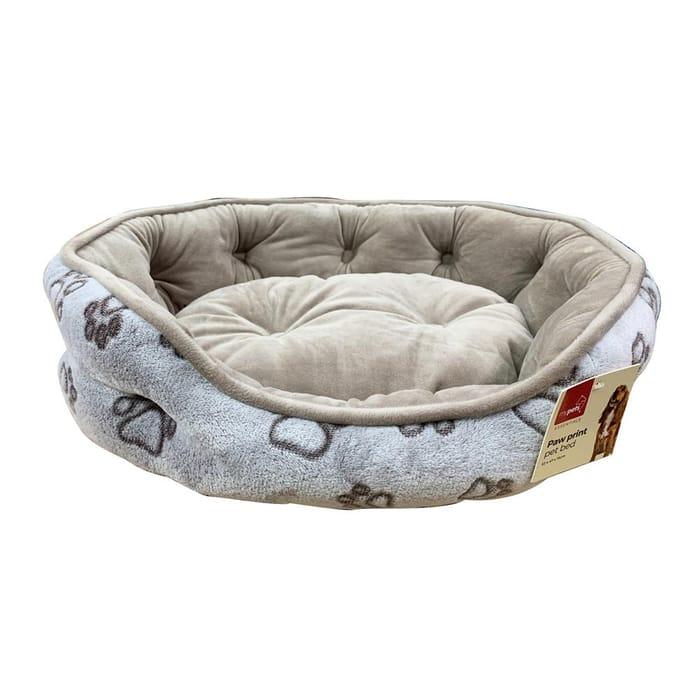 Paw Print Pet Bed - Cream