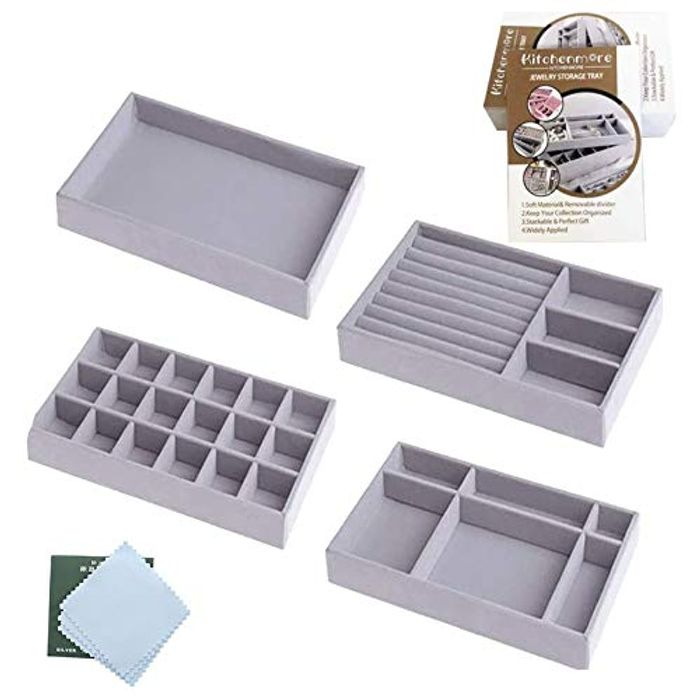 LIGHTNING DEAL - Kitchenmore Jewelry Trays Organizer