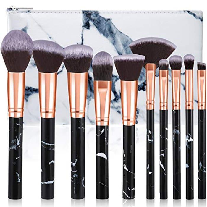 Deal Stack - 10Pcs Marble Makeup Brush Set with Bag