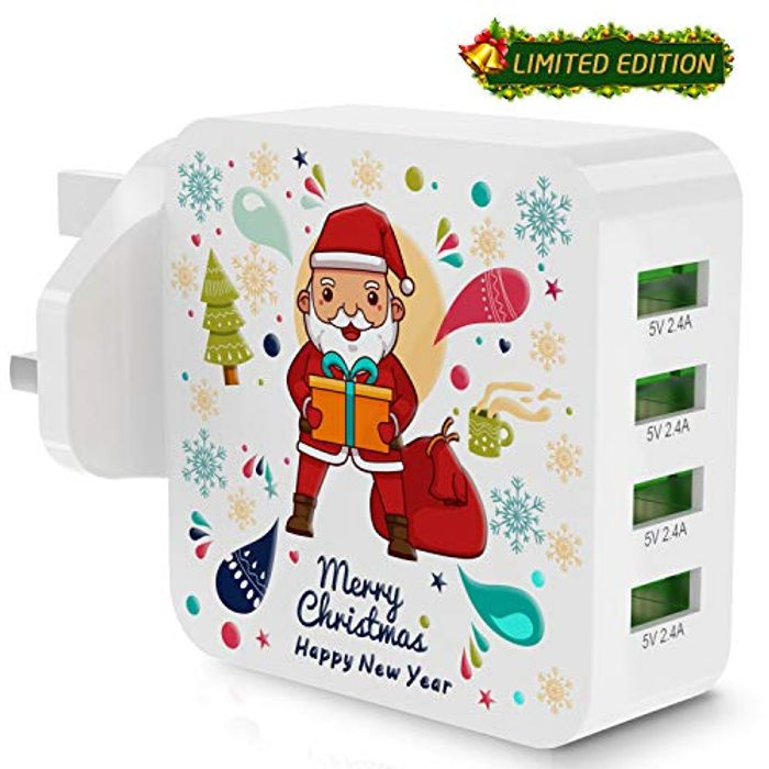 Half Price! Santa Claus USB Plug 4 Port Charger