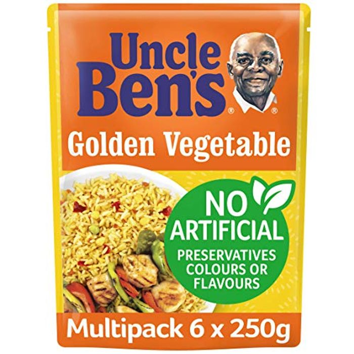 Uncle Bens Golden Vegetable Microwave Rice 250 G (Pack of 6)