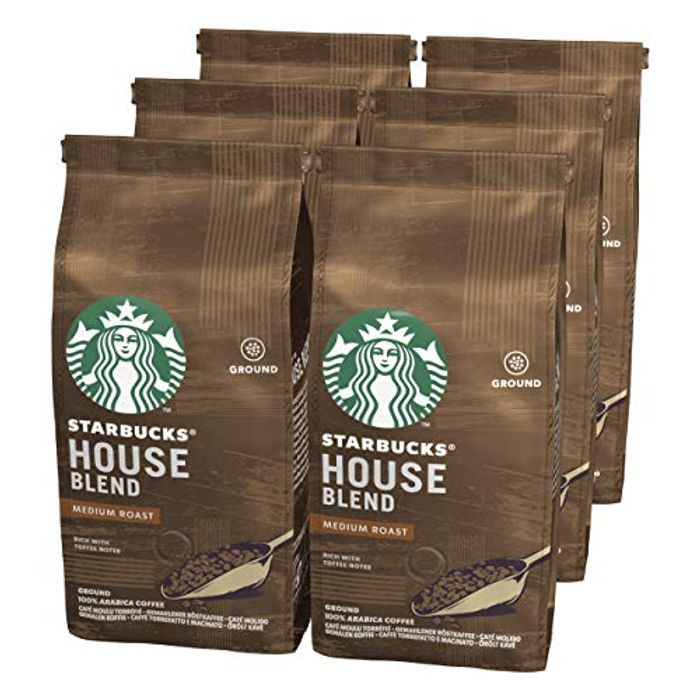 Starbucks House Blend Medium Roast Ground Coffee 200 G Bag (Pack of 6)
