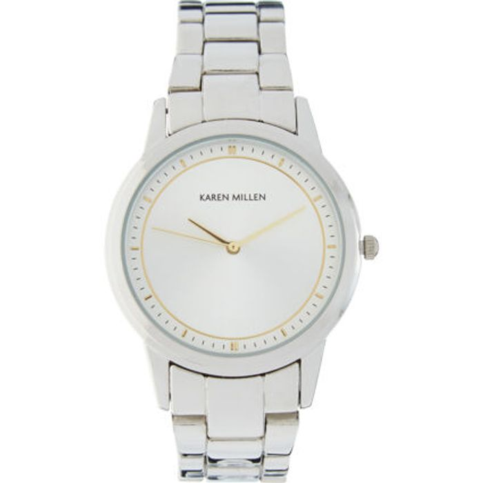 KAREN MILLEN Silver Tone Link Bracelet Analogue Watch