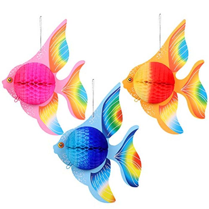 6 Pcs Paper Foldable Tropical Fish Decoration
