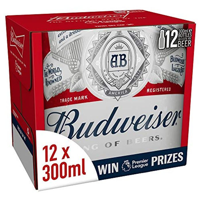 Budweiser Lager Beer Bottle, 12 X 300ml - Only £7.45!