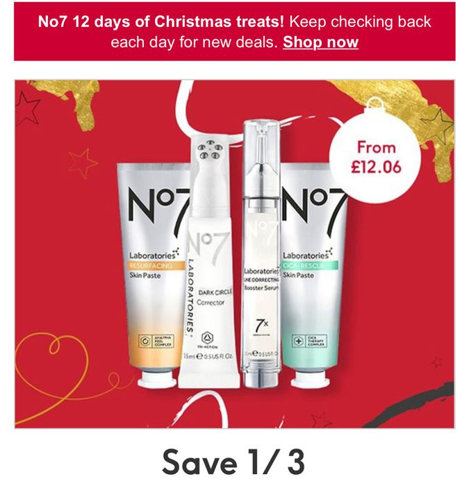 12 Days of Beauty Treats Save a Third on No7 LABORATORIES