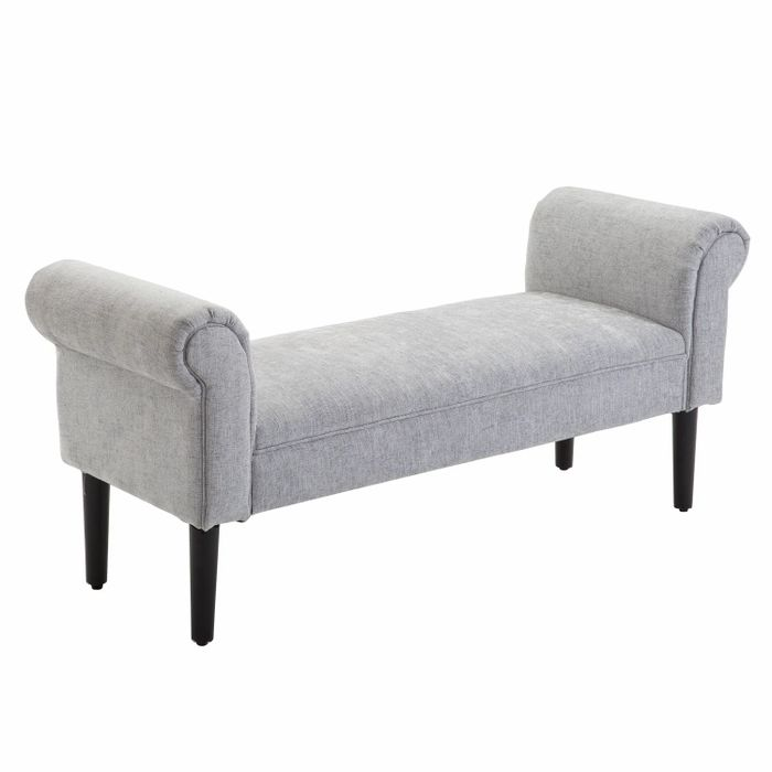 Linen Upholstered Bed-End Ottoman Grey - £80.99 With Code