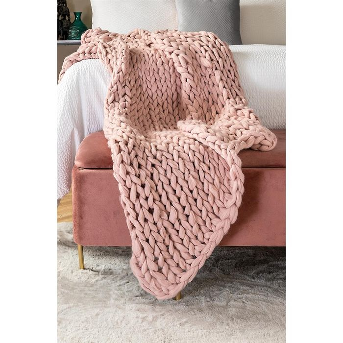 Home Collections Hand Knitted Throw Blush Pink