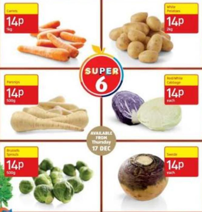Aldi Super 6 Christmas Vegetables Now Only 14p Each!
