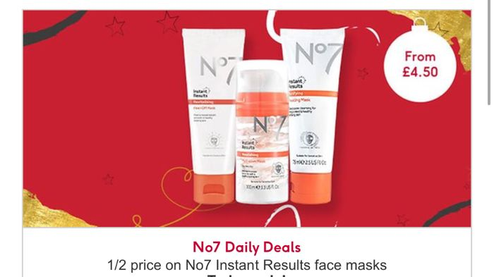 12 Days of Beauty Treats - Half Price No7 Face Masks, and 3 for 2 on No7