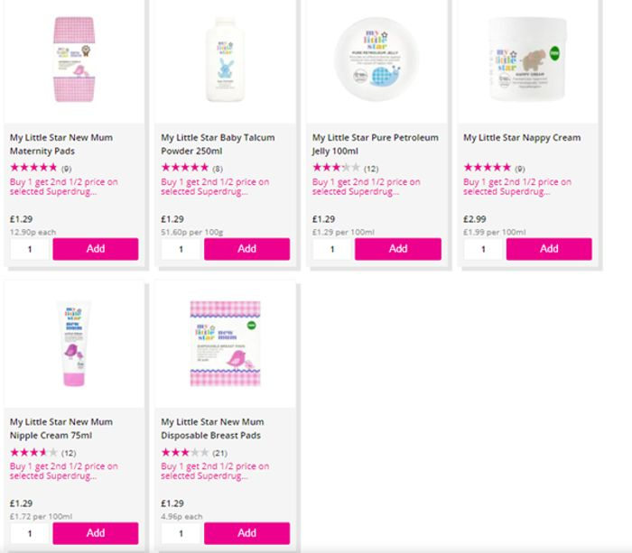 Buy 1 Get 2nd 1/2 Price My Little Star Medicinal & Maternity Products