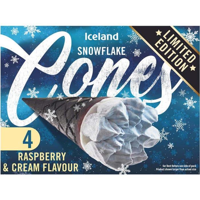 Iceland 4 Raspberry & Cream Flavour Snowflake Cones