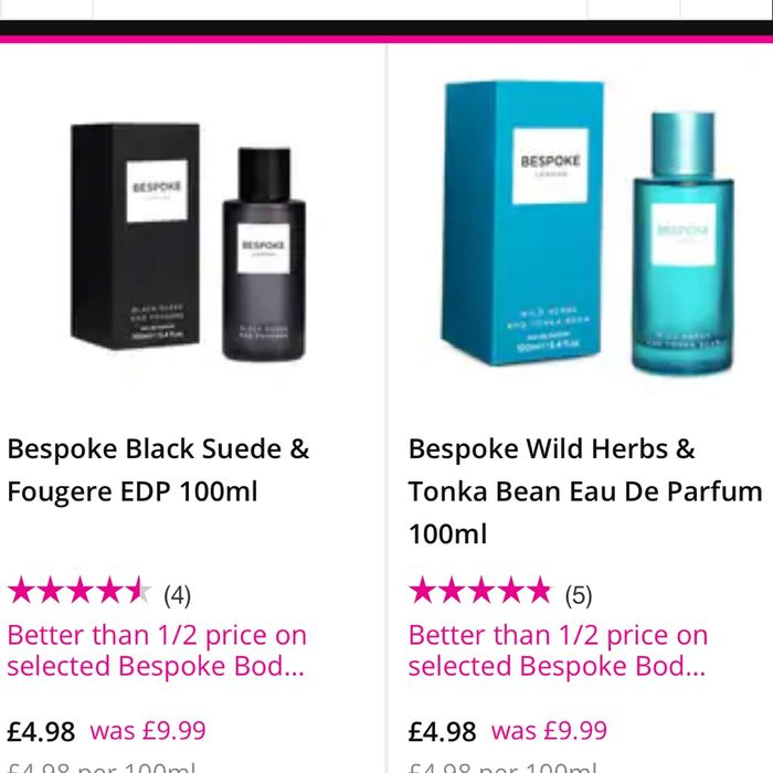 Bespoke Edp Variety of Scents, All 1/2 Price. ONLY £4.98