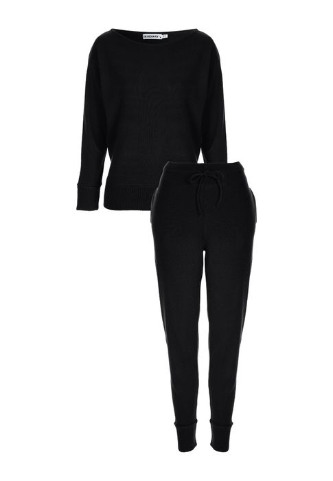 Womens Black Knitted Lounge Set