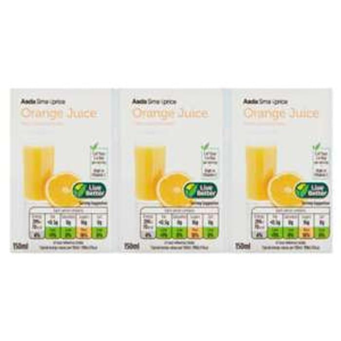 Asda Smart Price Orange Juice Cartons 3 X 150ml for 30p at Asda